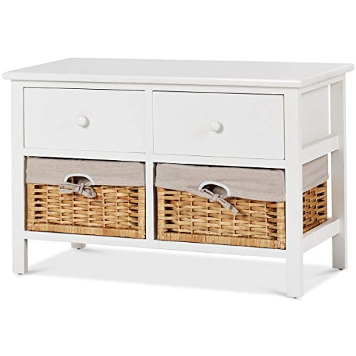 (USA_BEST_SELLER Wood Frame Storage Chest with 2 Drawer Baskets Wooden Box Cabinet Console Table)