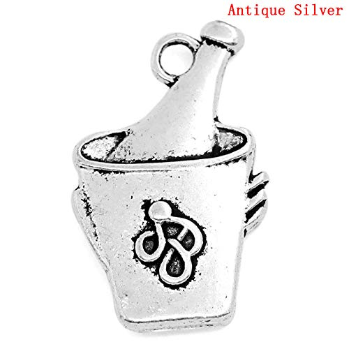 - PEPPERLONELY 20pc Antiqued Silver Alloy Champagne or Wine in an Ice Bucket Charms Pendants 24x15mm (1