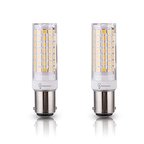 LumenBasic BA15d LED Bulb Bayonet Base Warm White 7 watt 50w-60w Halogen Equivalent Replaces JD Type T3/T4 Bulbs (Pack of 2)