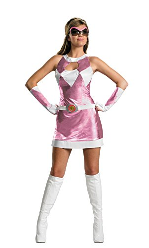 Deluxe Power Costumes Ranger Adult Rangers Pink (Disguise Women's Saban Power Rangers Mighty Morphin Pink Ranger Sassy Deluxe Costume, Pink/White,)