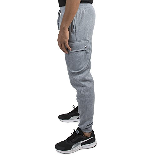- Vibes Gold Label Mens Grey Fleece Moto Cargo Jogger Pants Rib Waist Cuff