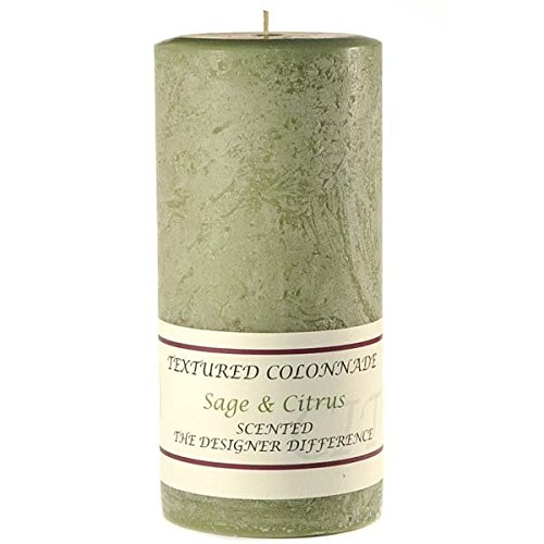 Sage and Citrus 3 x 6 Textured Pillar (Scented Palm Wax Pillar Candles)