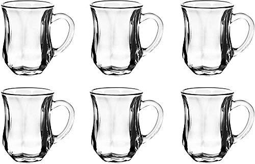 Juego de tazas de vasos de te turco Juego de 6 tazas de te turco arabe oriental con mango Juego de vidrio transparente Espresso