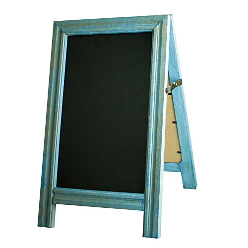 SUPERIORFE Vintage Free Standing Rustic Style Two-Side Wood Frame Chalkboard 9.5