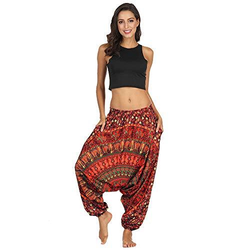 Pongfunsy Women Yoga Pants, Women's Casual Loose Yoga Trousers Fashion Baggy Boho Aladdin Harem Pants Unisex Pants (S, Red)