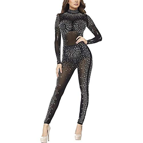 02960b3f4a Kafiloe Womens Sexy Rhinestone See Through Mesh Party Cocktail Bodycon One  Piece Jumpsuit Romper Clubwear