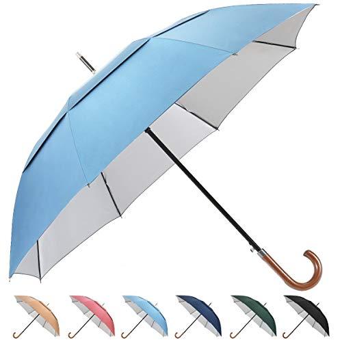 UV Hook Golf Umbrella UPF50+, G4Free 62inch Windproof Auto Open Large Oversized Double Canopy Vented Cane Stick Sun Block Umbrellas Men Women(Sky Blue)