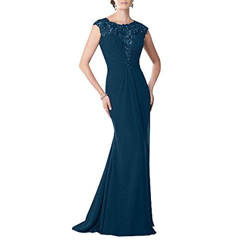 Festlichkleider Spitze mia La Brau Chiffon Dunkel Standsamt Glamour Langes Abschlussballkleider Blau mit Kleider Abendkleider Brautmutterkleider 1qzqnB7x