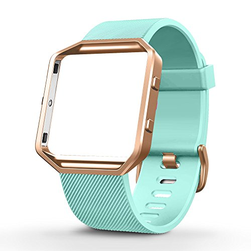 - UMTELE Silicone Replacement Band with Rose Gold Frame for Fitbit Blaze Smart Fitness Watch, Large, Turquoise