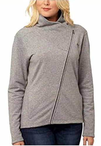 Puma Asymmetrical French Terry Full Zip Jacket for Women (XL, Med Gray Heather)