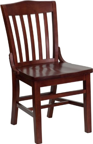 Restaurant Schoolhouse Chairs (Flash Furniture 4 Pk. HERCULES Series School House Back Mahogany Wood Restaurant Chair)