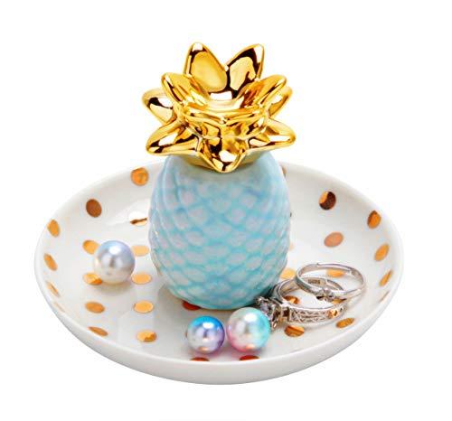 Blue Ring Tray - Jojuno Ananas Ceramic Ring Holder Decor Jewelry Dish Organizer, Jewelry Tray, Blue Pineapple Jewelry Plate