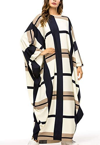 Flygo Women's Batwing Plaid Floral Printed Long Short Sleeves Oversized Maxi Dress Sleep Loungewear
