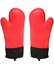 LIOOBO 2Pc Silicone Oven Mitts Heat Resistant Gloves for Barbecue Cooking Bakin (red)
