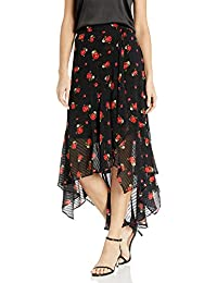 Women's Midi Skirt with Assymetrical Hem in a Floral Print