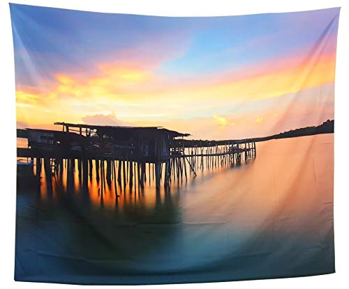 - GARDOVA Tapestry | Lake | Early Morning Sun in Dock | Orange Sky Over a Wooden Pier & Cabin | Wall Hanging Wall Blanket Wall Art Decor - Lake Sunset Over Rustic Dock