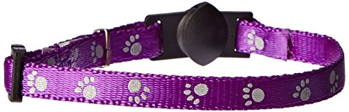 Petmate Reflective Breakaway Nylon Cat Collar, 3/8-Inch, Purple ()