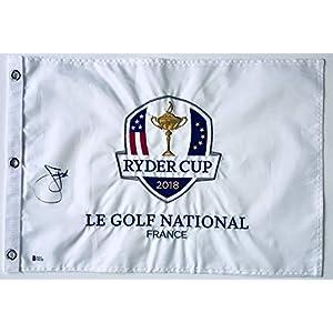 Jim Furyk signed 2018 Ryder cup golf flag pga beckett coa