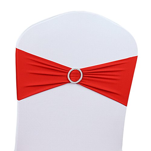50 x Stretch Wedding Chair Cover Band With Buckle Slider Sashes Bow Decorations 11 Colors