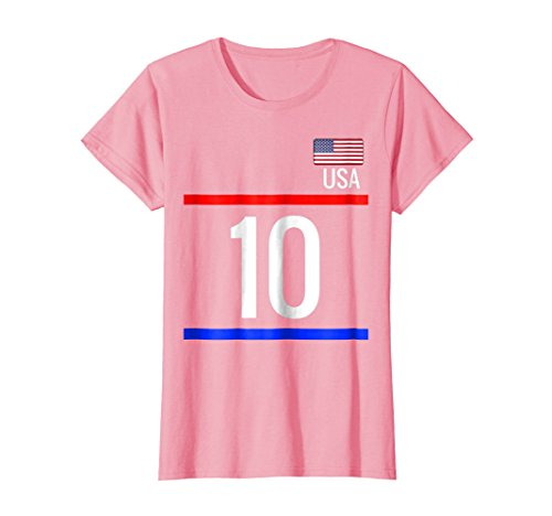 Womens USA Soccer Jersey Tshirt with number 10 - sports Small Pink