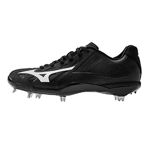 Mizuno Heist IQ Low Cut Adult Men's Metal Baseball Cleat - Black & Black (Men's Size 11)