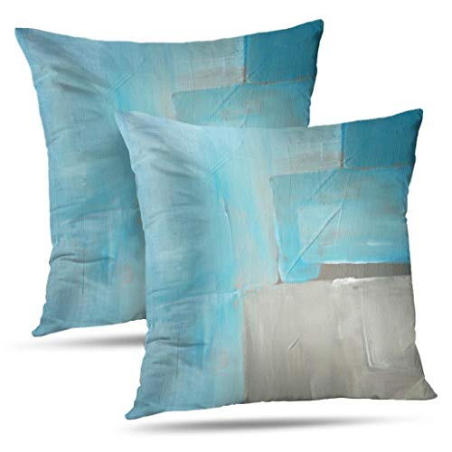 Alricc Abstract Art Pillow Cover, Blue Ocean Watercolor Rustic Grunge Square Watercolour Old Decorative Throw Pillows Cushion Cover for Bedroom Sofa Living Room 18X18 Inches Set of 2 (Rustic Turquoise Throw Pillows)