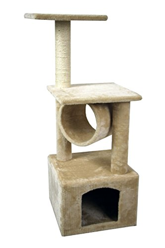 Hiding-Cat-Tree-36-Kitty-Tree-Scratcher-Play-House-Condo-Furniture-Toy-Bed-Post-House-Beige