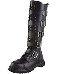 Summitfashions MENS Black Leather Knee High Boot 20 Eyelet 5 Strap Gothic Punk Boot Steel Toe