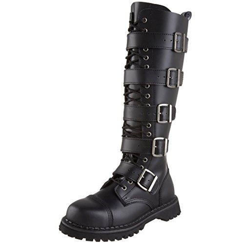 MENS Black Leather Knee High Boot 20 Eyelet 5 Strap Gothic Punk Boot Steel Toe Size: - Boots Knee Gothic