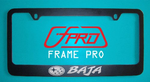 (Subaru Baja Black License Plate Frame (Zinc Metal))