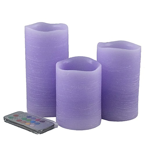 Adoria Purple Flameless Candles Gift Set of 3- Real Wax Rustic Pillar Candles Remote and Timer - Lavendar Scented -Tall 4, 5, 6 -