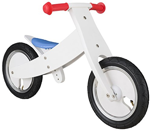 BIKESTAR® Original Safety Wooden Lightweight Kids First Balance Running Bike with air tires for age 3 year old boys and girls | 12 Inch Edition | White Blue Red Rallye Design