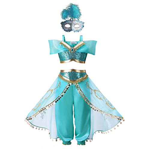 Pettigirl Girls Princess Jasmine Dress Up Costumes Halloween Party Fancy Dress (5 Years, Costume_mask) -