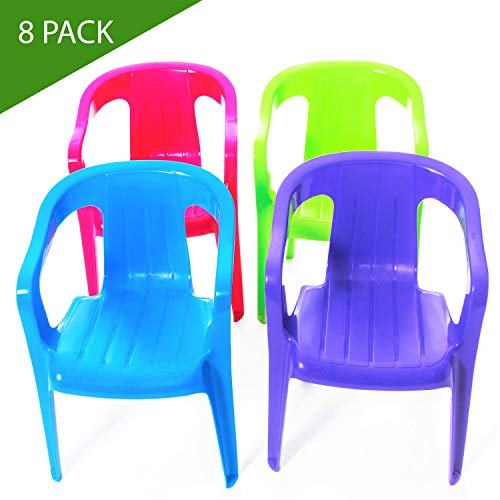 Mindable Stacking Kids Chair Set of 8, 100% Recycled Plastic Seating for Playroom Classroom or Outdoor Table (Assorted Colors) (Outdoor Chair Plastic)