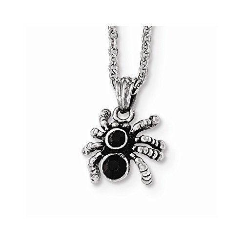 Stainless Steel Antiqued & Polished Crystal Spider Necklace 18 ()
