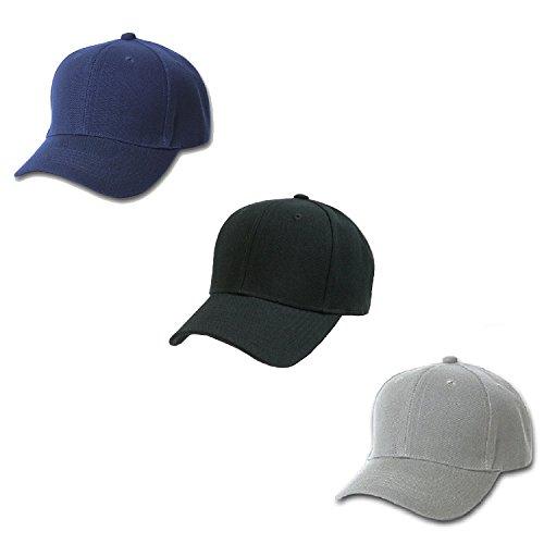 Baseball Cap Set (Set of 3 Plain Baseball Cap - Blank Hat with Solid Color & Velcro Adjustable)