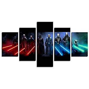 AtfArt 5 Piece Jedi and Sith Star Wars Canvas Painting for Living Room Home Decor Canvas Art Wall Poster (No Frame) Unframed HB3 50 inch x30 inch.