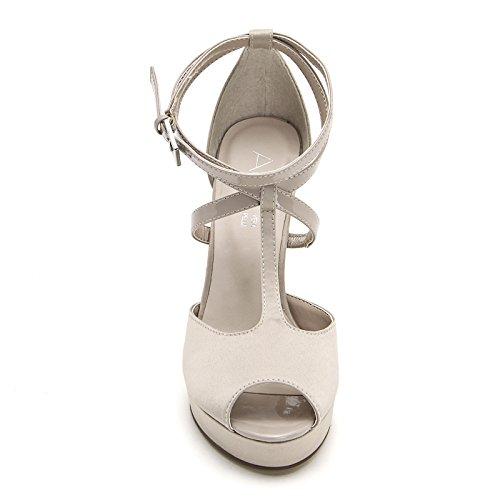 ALESYA by Scarpe&Scarpe - Sandalias altas con T-bar y correas, con Tacones 10 cm Beige