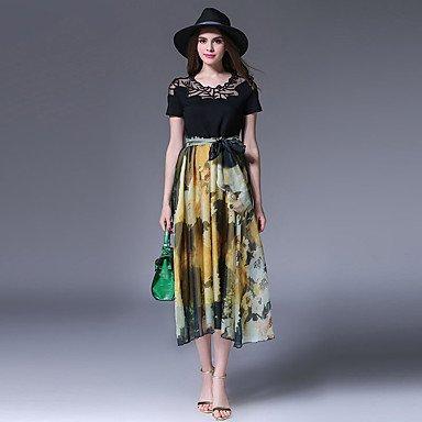 PU&PU Robe Aux femmes Trapèze / Swing Vintage,Mosaïque Col Arrondi Midi Soie / Coton , black , s