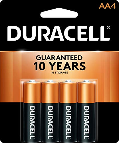 - Duracell - CopperTop AA Alkaline Batteries - Long Lasting, All-Purpose Double A Battery for Household and Business - 4 Count