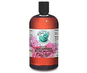 Rose Water 16 oz Facial Toner Cleanser Undiluted Organic - Bella Terra Oils