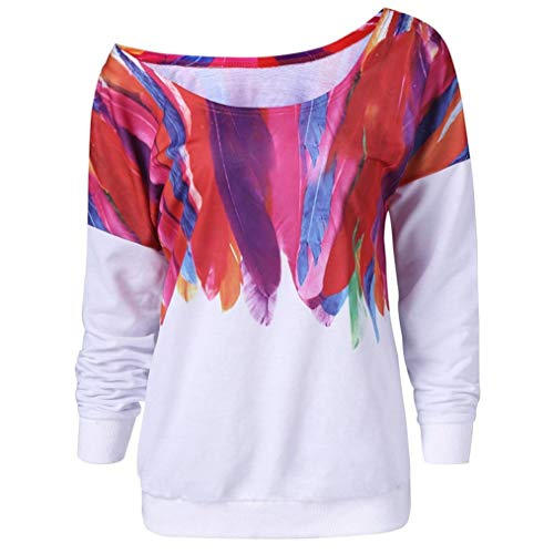 ZOMUSAR Women Casual Blouse Loose Long Sleeve Shirts Feather Print Pullover Sweatshirt by ZOMUSAR