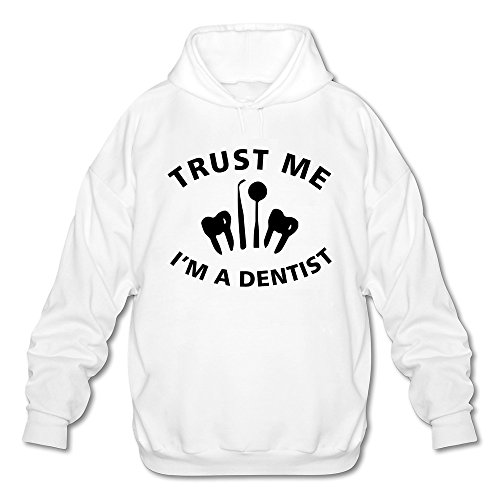 Men's Trust Me I Am A Dentist Long Sleeve Hooded Sweatshirt Medium White - Mirror Sardine