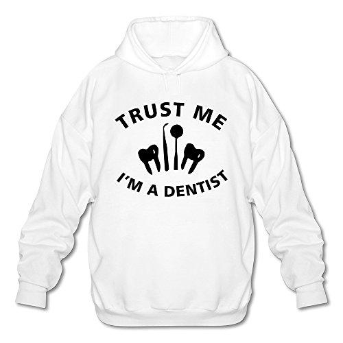 Men's Trust Me I Am A Dentist Long Sleeve Hooded Sweatshirt Medium White - Mirror Sardine