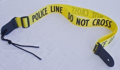 Guitar Strap POLICE LINE DO NOT CROSS YELLOW Nylon Solid Lea
