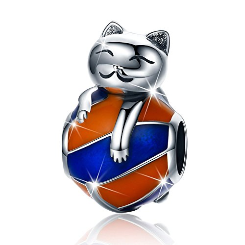 - PHOCKSIN Funny Cat on The Blue Orange Enamel Ball Charms 925 Sterling Silver Animal Bead for Bracelet