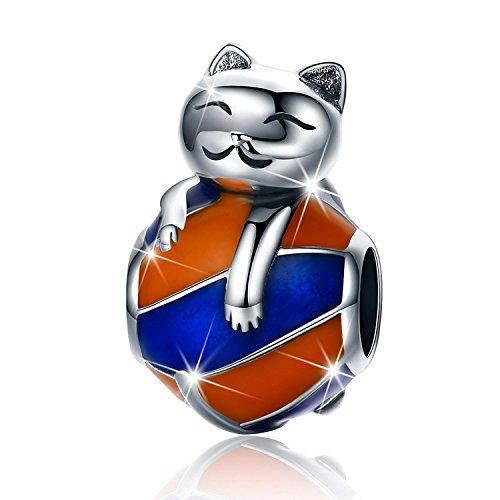 PHOCKSIN Funny Cat on The Blue Orange Enamel Ball Charms 925 Sterling Silver Animal Bead for Bracelet