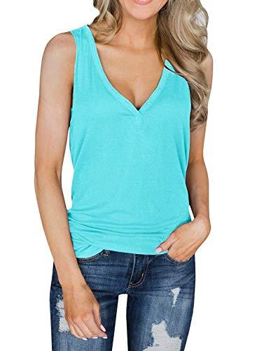 Mafulus Womens Tank Tops Deep V Neck Sleeveless Button Up Loose Workout Henley Shirts Blue