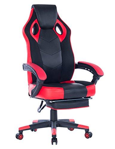 Healgen Gaming Chair with Footrest Racing Computer PC Chair Ergonomic High Back Swivel Executive Office Chair Mesh Leather Reclining Desk Chair Red
