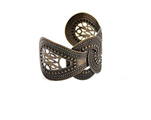 Global Huntress European Bronze Alloy Wide Adjustable Retro Bracelet Bronze Cuff Bracelet
